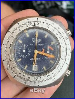 Heuer Vintage Calculator Automatic Chronograph Watch 45mm For Parts And Repair