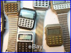 Lot Of Vintage Calculator LCD Watches For Restoration Or Parts Bands