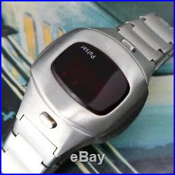 Pulsar Led P4 Wrist Watch Time Computer Stainless Steel Very Clean Parts Repairs