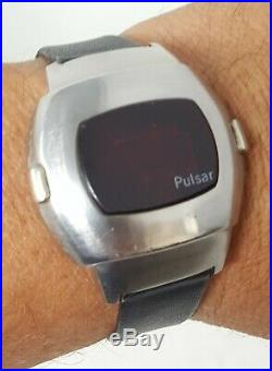 Pulsar P3 LED James Bond Vintage 1970s Time Computer Stainless Watch- Parts Only