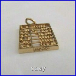 Vintage 14K Gold Abacus Calculator Pendant with Moving Parts 7/8 by 1/2