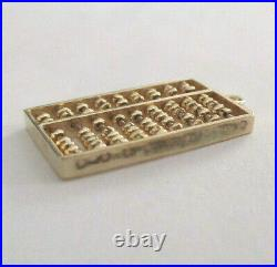 Vintage 14K Gold Old Fashion ABACUS Calculator Pendant With Moving Parts