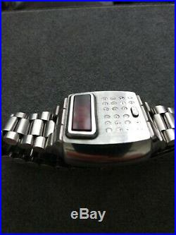 Vintage Pulsar CALCULATOR LED LCD Watch For parts